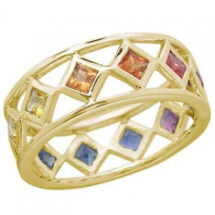Rainbow Sapphire Bezel Set Eternity Ring 14K Yellow Gold (1.6ct tw) SKU: 973-14K-YG