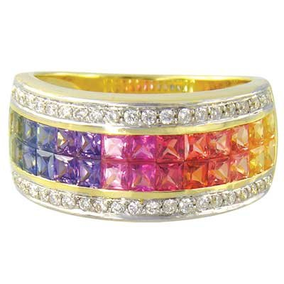 Rainbow Sapphire & Diamond Invisible Set Band Ring 18K Yellow Gold (4.3ct tw) SKU: 1532-18K-YG