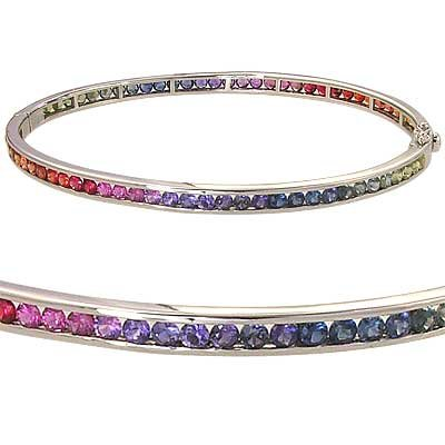 Rainbow Sapphire Eternity Oval Bangle 925 Sterling Silver (8ct tw) SKU: 1520-925