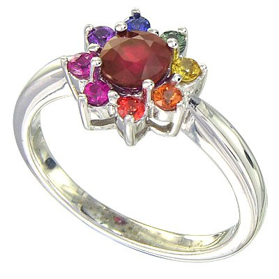 Multicolor Rainbow Sapphire & Ruby Cluster Ring 925 Sterling Silver(1.23ct tw) SKU: 1549-925