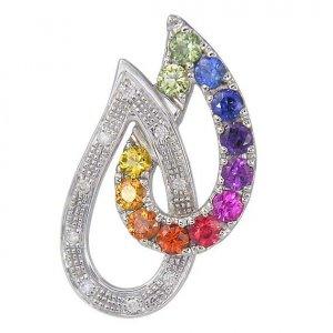 Rainbow Sapphire & Diamond Teardrop Pendant 14K White Gold (0.92ctw) SKU: 1566-14K-WG
