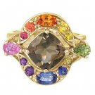 Rainbow Sapphire & Smoky Quartz Multi Shape Ring 14K Yellow Gold (3.74ct tw) SKU: 1575-14K-YG