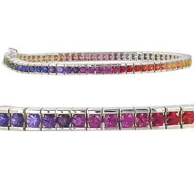 Rainbow Sapphire Tennis Bracelet 925 Sterling Silver (8ct tw) SKU: BRC225-24-925