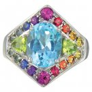 Rainbow Sapphire, Blue Topaz and Peridot Fashion Ring 14K White Gold (4.4ct tw) SKU: 1569-14K-WG