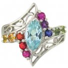 Rainbow Sapphire and Marquise Topaz Womens Ring 925 Sterling Silver (1.97ct tw) SKU: 1576-925