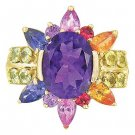 Rainbow Sapphire & Amethyst Color Explosion Ring 14K Yellow Gold (5.63ct tw) SKU: 1590-14K-YG