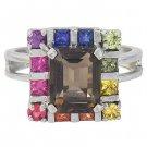 Rainbow Sapphire & Smoky Quartz Rubix Cube Ring 925 Sterling Silver (3.26ct tw) SKU: 1618-925