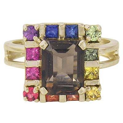 Rainbow Sapphire & Smoky Quartz Rubix Cube Ring 14K Yellow Gold (3.26ct tw) SKU: 1618-14K-YG