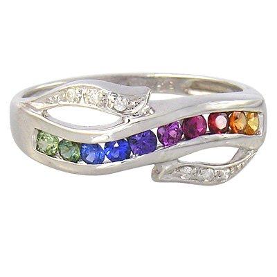 Rainbow Sapphire & Diamond Classic Twist Ring 925 Sterling Silver (0.69ct tw) SKU: 1456-925