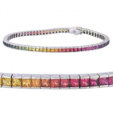 Rainbow Sapphire Tennis Bracelet 14K White Gold (16ct tw) SKU: 622-14K-WG