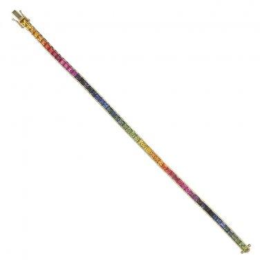 Rainbow Sapphire Tennis Bracelet 18K Yellow Gold (16ct tw) SKU: 622-18K-YG