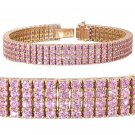 14ct Pink Sapphire Prong Set Tennis Bracelet 14K Pink Rose Gold SKU: 1828-14K-PG