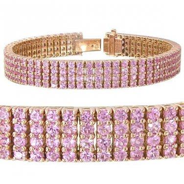 14ct Pink Sapphire Prong Set Tennis Bracelet 14K Pink Rose Gold SKU: 1828-14K-PG