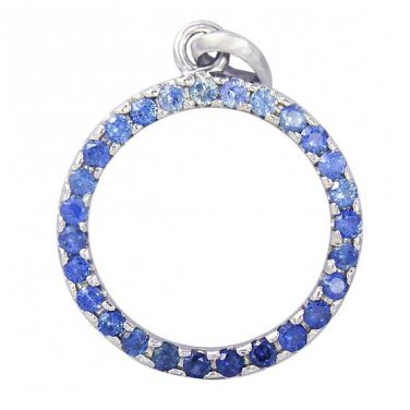 Blue Sapphire Ombre Circle Pendant 925 Sterling Silver (1.2ct tw) SKU: 335-BS-925