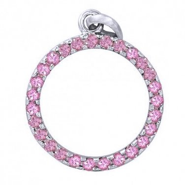 Pink Sapphire Circle Pendant 925 Sterling Silver (1.2ct tw) SKU: 335-PS-925
