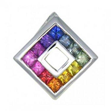 Rainbow Sapphire Square Pendant 18K White Gold (2ct tw) SKU: 1603-18K-WG