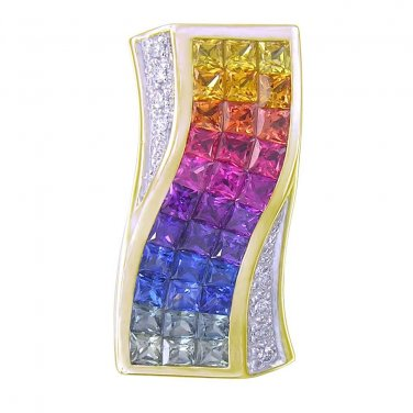 Rainbow Sapphire & Diamond Pendant Invisible Set Triple Row 18K YG (3.06ct tw) SKU: 427-18K-YG