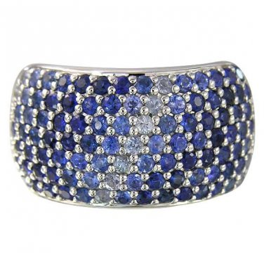 Graduating Blue Sapphire Ombre Ring 925 Sterling Silver Ring (4.5ct tw) SKU: 1835-925