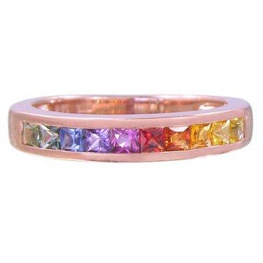 Rainbow Sapphire Half Eternity Band Ring 18K Rose Gold (3/4ct tw) SKU: 891-18K-PG