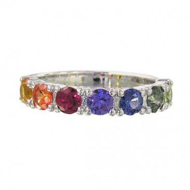 Rainbow Sapphire Engagement Band Ring 925 Sterling Silver (1.5ct tw) SKU: 1820-925