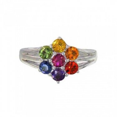 3.5mm Rainbow Sapphire Flower Cluster Ring 925 Sterling Silver (1.5ct tw) SKU: 1819-925
