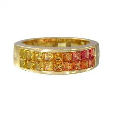 Sunset Sapphire & Diamond Invisible Set Ring 14K Yellow Gold (2.02ct tw) SKU: 1471-14K-YG