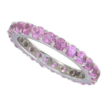 Pink Sapphire Eternity Ring 18K White Gold (5ct tw) SKU: 1862-18K-WG
