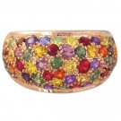 Rainbow Sapphire Multi Color Dome Ring 14K Pink Gold (6.3ct tw) SKU:	1619
