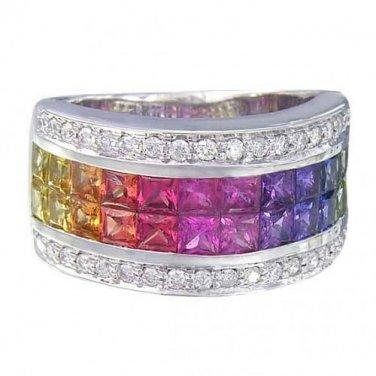 Rainbow Sapphire & Diamond Invisible Set Band Ring 14K White Gold (4.3ct tw) SKU: 1532-14K-WG