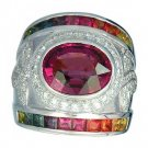 Rainbow Sapphire & Tourmaline With Diamond Ring 18K White Gold (6.87ct tw) SKU: 444-18K-WG
