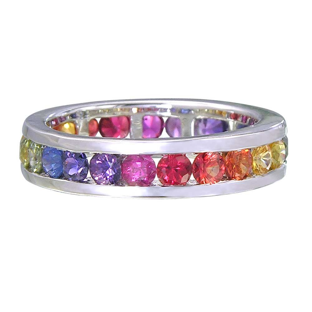 Multicolor Rainbow Sapphire Eternity Ring 925 Sterling Silver (5ct tw) SKU: R2043-895-925