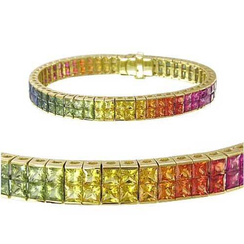 Rainbow Sapphire Double Row Invisible Set Tennis Bracelet 14K Yellow Gold (25ct tw) SKU: 1567-14K-YG
