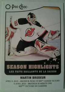 2010-11 O-Pee-Chee Season Highlights Martin Brodeur #SH9
