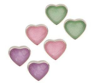 New Sterling Lavender, Pink & Green Jade Heart Earring Set