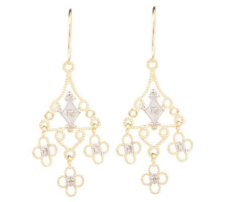 New Boho 14k 2-tone Diamond Accent Chandelier Earrings