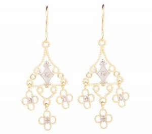New Boho 14k 2-tone Diamond Accent Chandelier Earrings