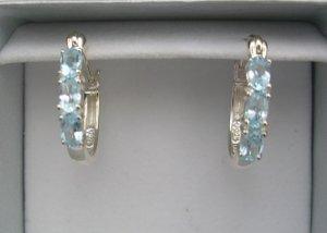 New Glam Sterling 1.32 Ct Blue Topaz Hoop Earrings