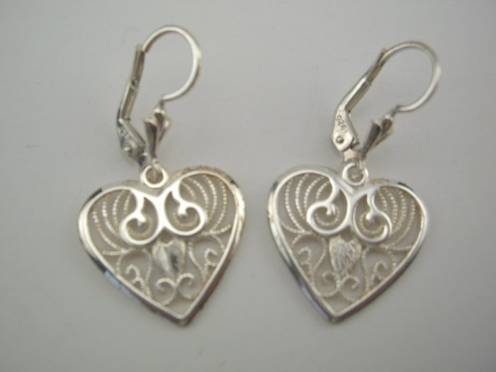 New Gorgeous Italian Sterling Filigree Heart Earrings
