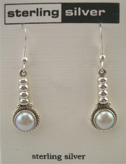 New Artsy Sterling Pearl Cabochon Drop Earrings