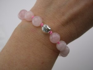 New 40- Inspirational Rose Quartz Sterling *Admiration* Bracelet