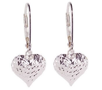 New Diamond Cut Sterling Heart Lever-Back Earrings & Gift Box
