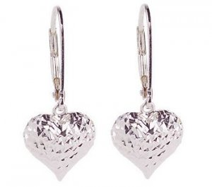 New Diamond Cut Sterling Heart Lever-Back Earrings & Gift Box