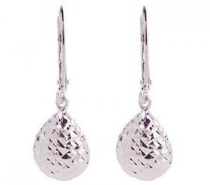New Diamond Cut Sterling Tear Drop Lever-Back Earrings & Gift Box