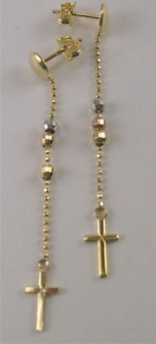 New 14k Tri-Color Gold Dangling Cross Earrings