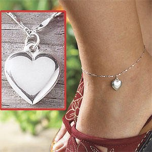 """New 9"""" Romantic Sterling Heart Charm Anklet"""