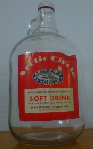 Arctic Circle Vintage Glass Collectible Gallon Soft Drink Bottle with Label