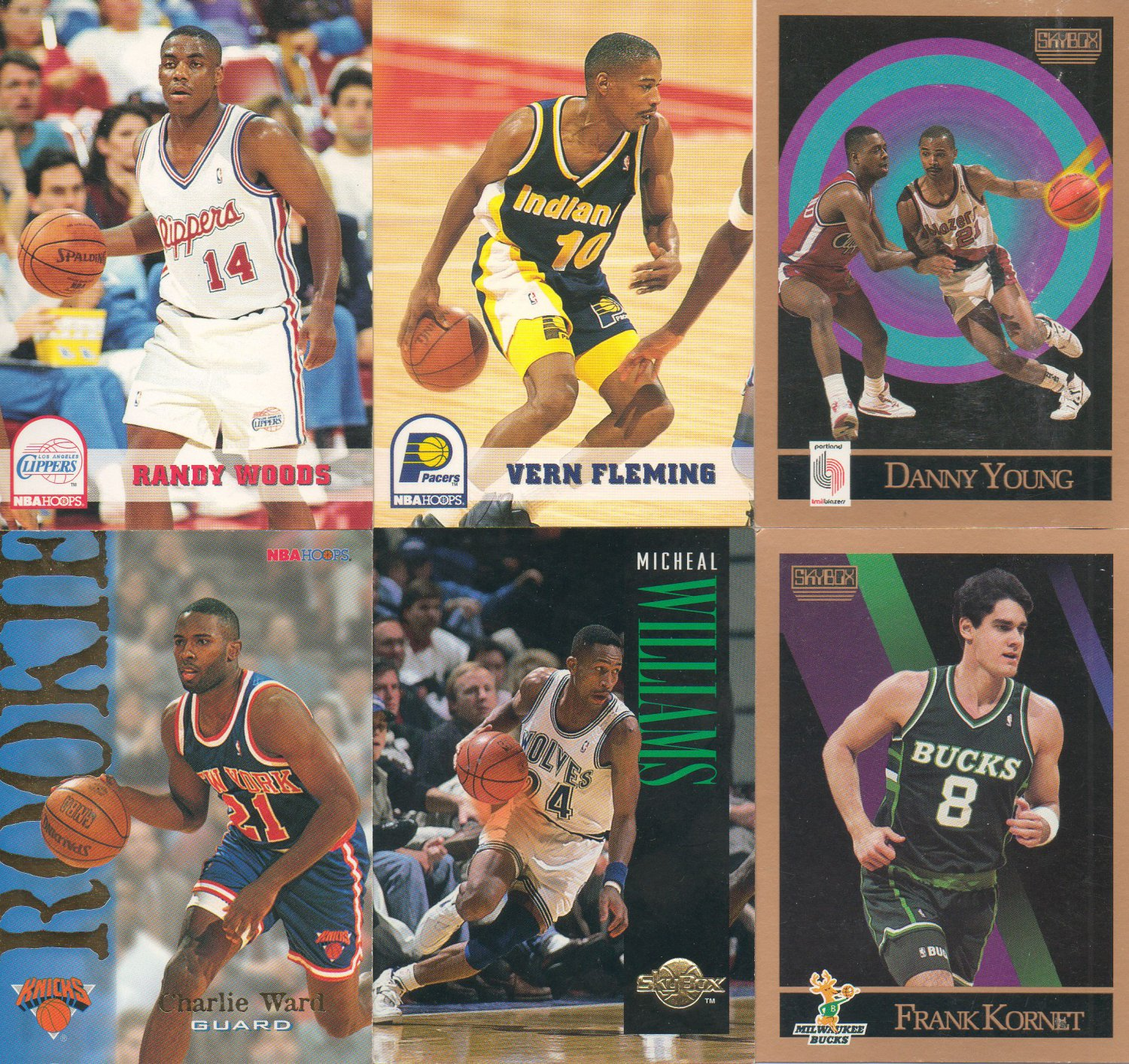 NBA Hoops and Skybox Lot of 6 Basketball Trading Cards 1990-1991, 1993-1994, 1994-1995