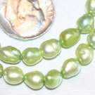 GREEN FRESHWATER PEARL BEADS -16 INCH STRAND