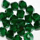 12 SWAROVSKI CRYSTAL MEDIUM EMERALD- 4MM BICONE BEADS