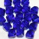 12 SWAROVSKI CRYSTAL COBALT BLUE- 4MM BICONE BEADS